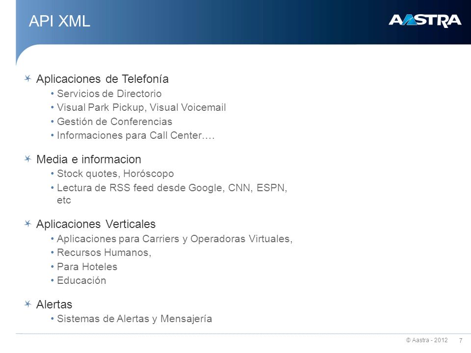 API XML Aplicaciones de Telefonía Media e informacion