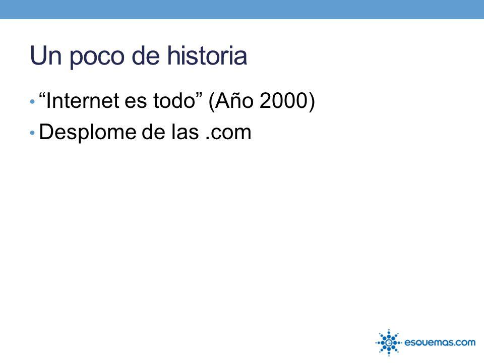 Un poco de historia Internet es todo (Año 2000) Desplome de las .com