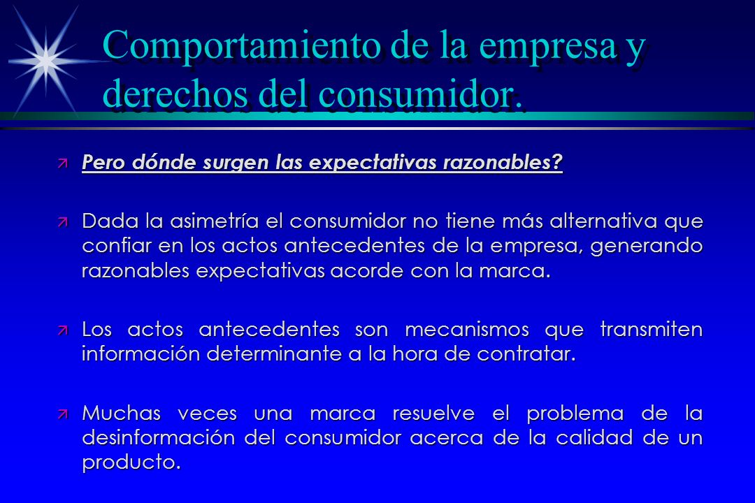 Comportamiento de la empresa y derechos del consumidor.