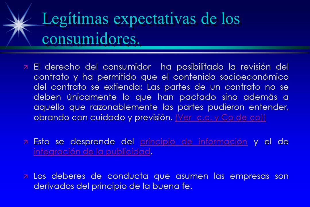 Legítimas expectativas de los consumidores.