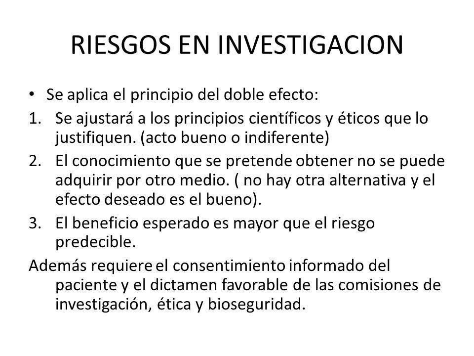 RIESGOS EN INVESTIGACION