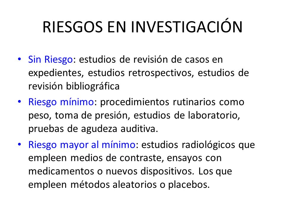 RIESGOS EN INVESTIGACIÓN