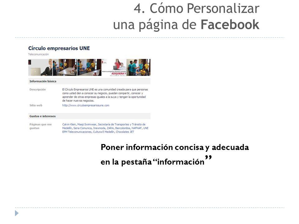 4. Cómo Personalizar una página de Facebook
