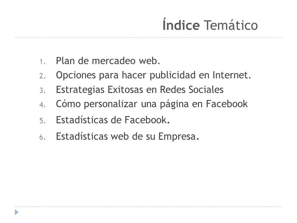 Índice Temático Plan de mercadeo web.