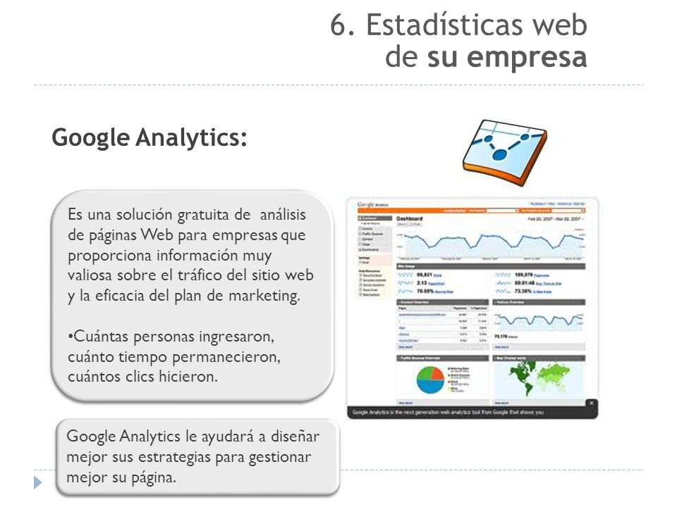 6. Estadísticas web de su empresa Google Analytics: