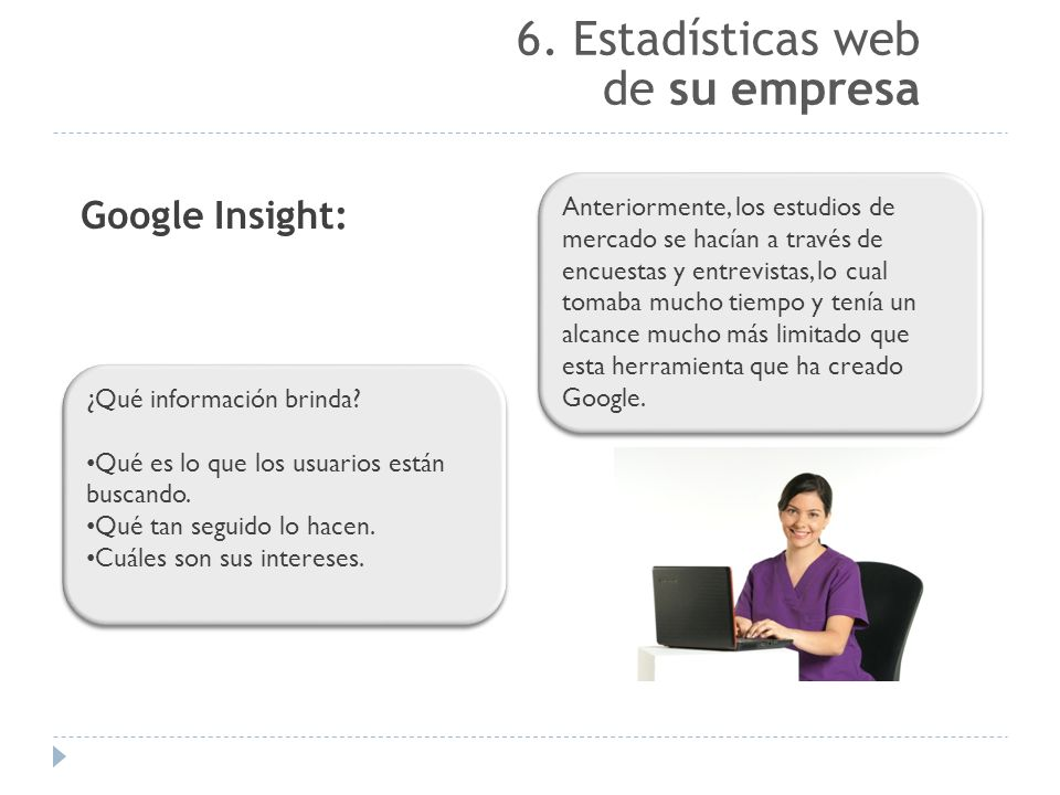 6. Estadísticas web de su empresa Google Insight: