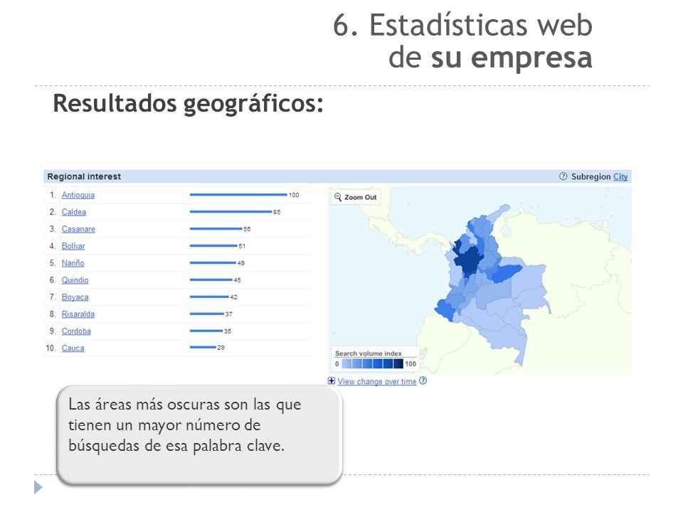 6. Estadísticas web de su empresa Resultados geográficos: