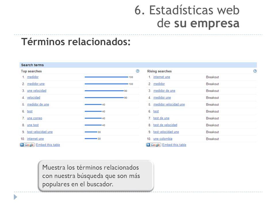 6. Estadísticas web de su empresa Términos relacionados: