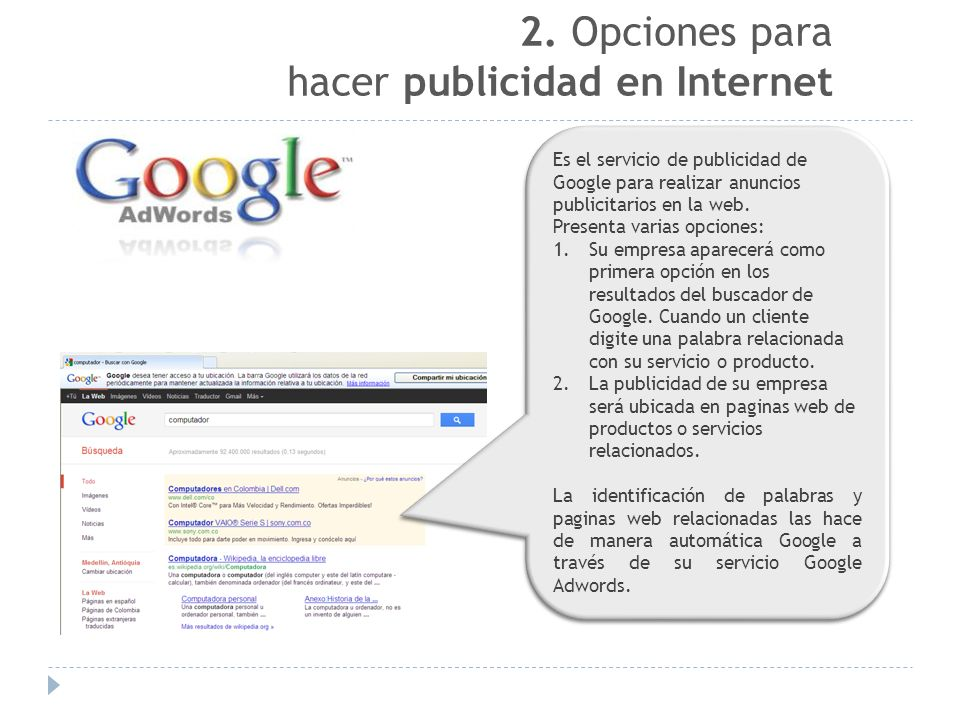 2. Opciones para hacer publicidad en Internet