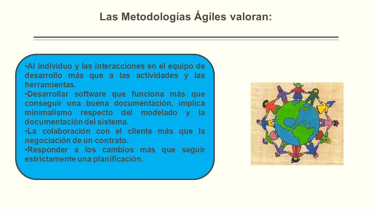 Las Metodologías Ágiles valoran: