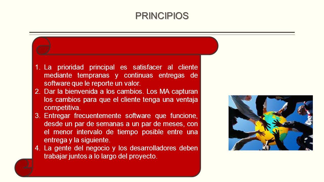 PRINCIPIOS La prioridad principal es satisfacer al cliente mediante tempranas y continuas entregas de software que le reporte un valor.