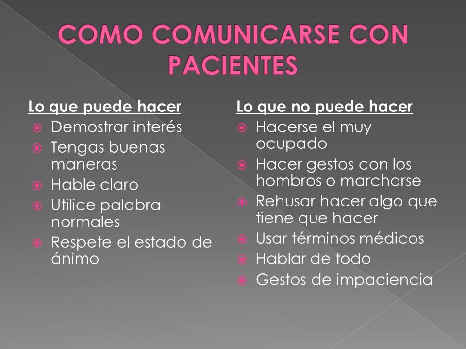 COMO COMUNICARSE CON PACIENTES