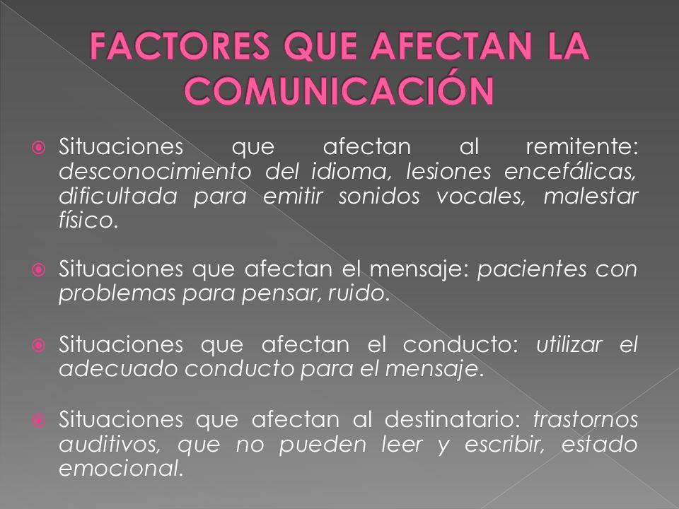 FACTORES QUE AFECTAN LA COMUNICACIÓN