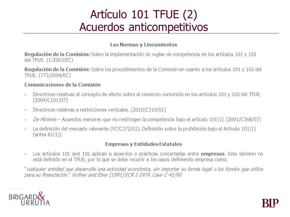 Artículo 101 TFUE (2) Acuerdos anticompetitivos
