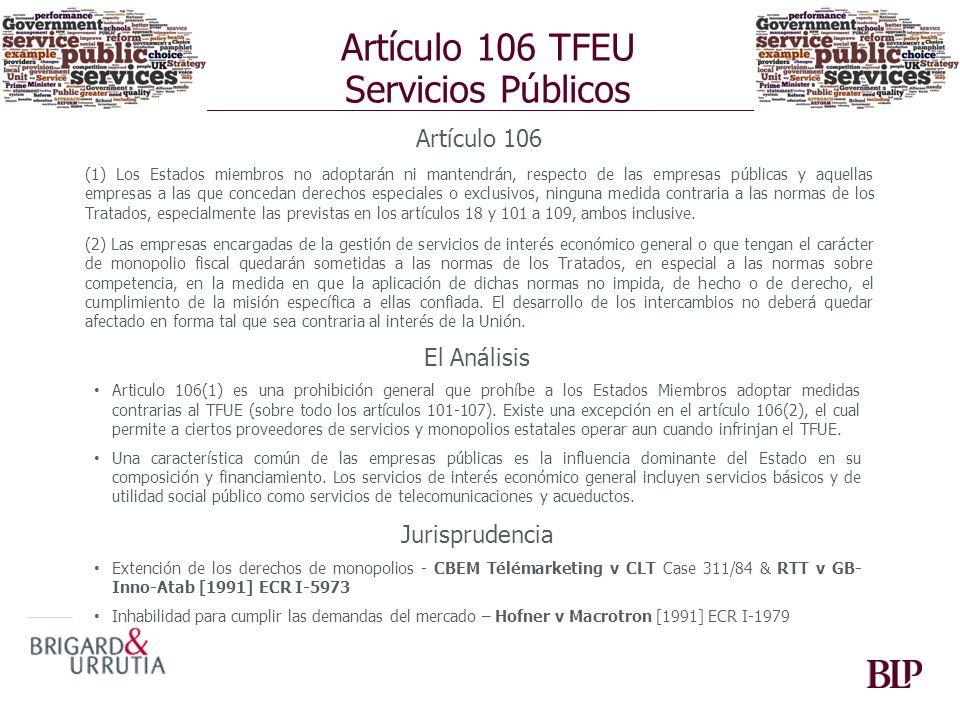 Artículo 106 TFEU Servicios Públicos