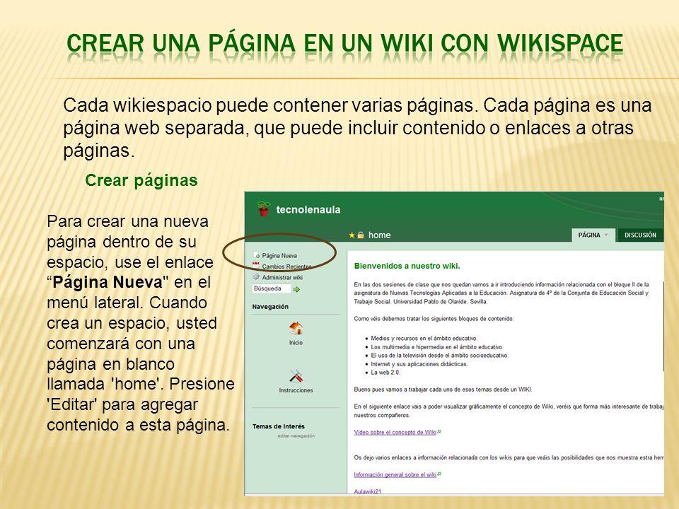 Crear una página en un wiki con wikispace