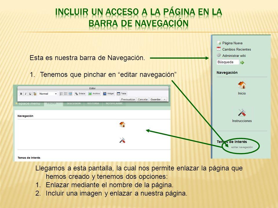INCLUIR UN ACCESO A LA PÁGINA EN LA BARRA DE NAVEGACIÓN