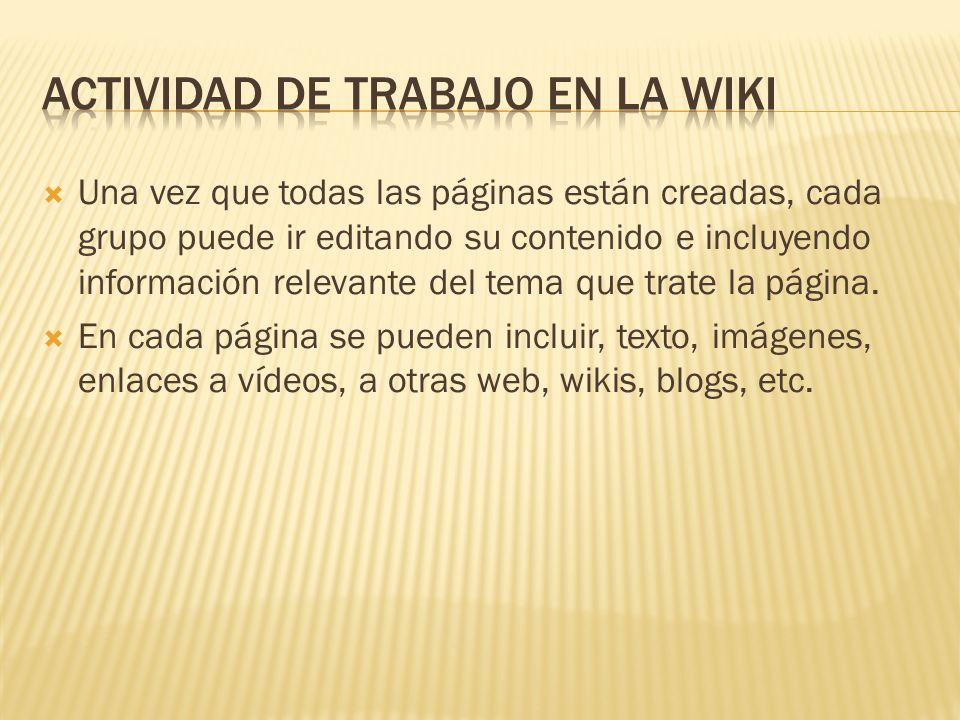 ACTIVIDAD DE TrabajO en la wiki