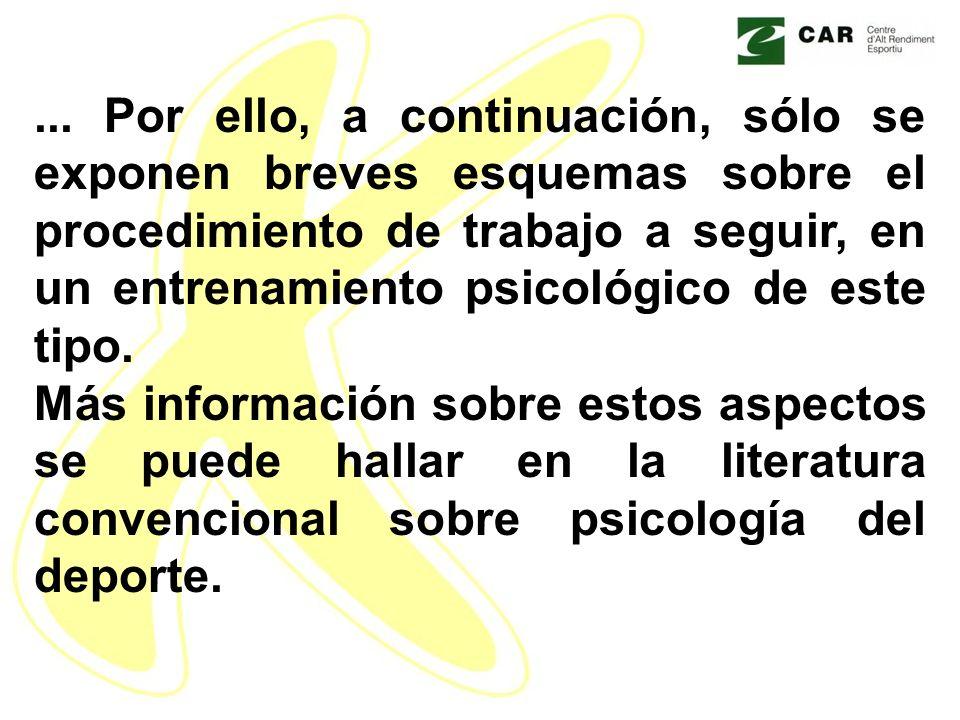 ... Por ello, a continuación, sólo se exponen breves esquemas sobre el procedimiento de trabajo a seguir, en un entrenamiento psicológico de este tipo.