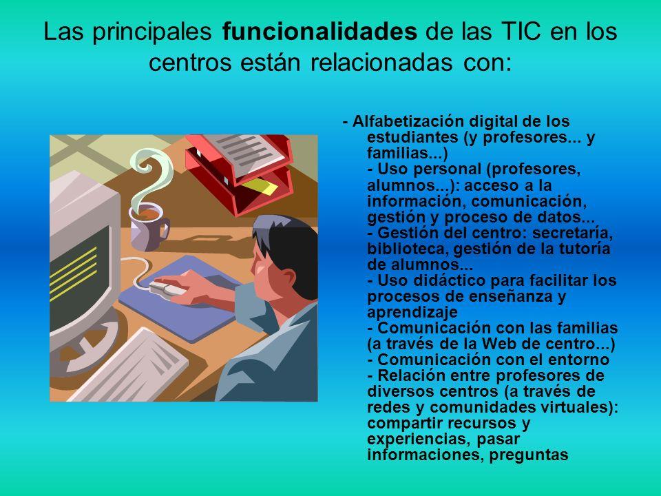 Las principales funcionalidades de las TIC en los centros están relacionadas con:
