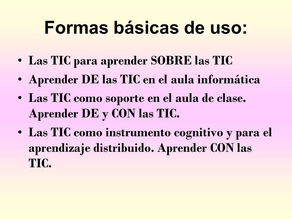 Formas básicas de uso: Las TIC para aprender SOBRE las TIC