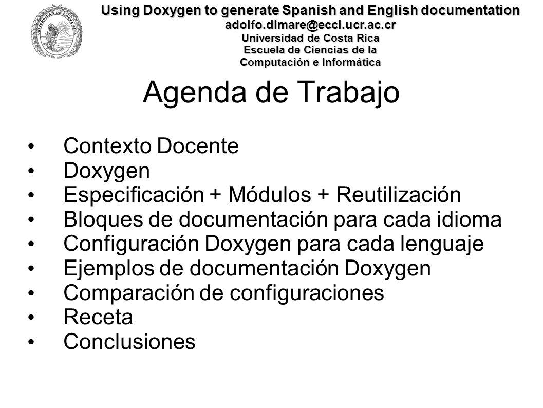 Agenda de Trabajo Contexto Docente Doxygen