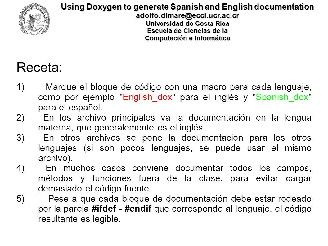 Using Doxygen to generate Spanish and English documentation