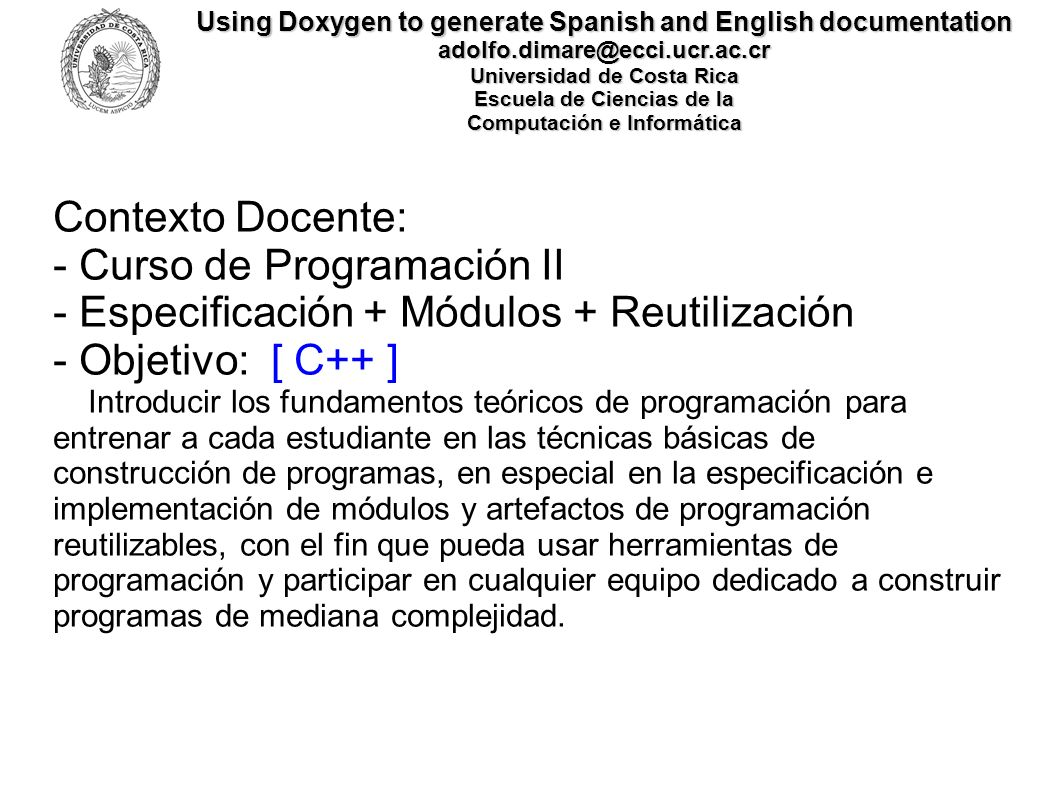 - Curso de Programación II - Especificación + Módulos + Reutilización
