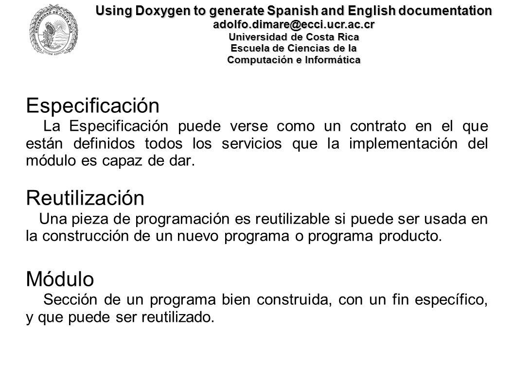 Especificación Reutilización Módulo