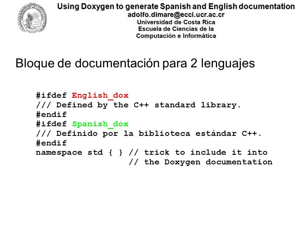 Bloque de documentación para 2 lenguajes