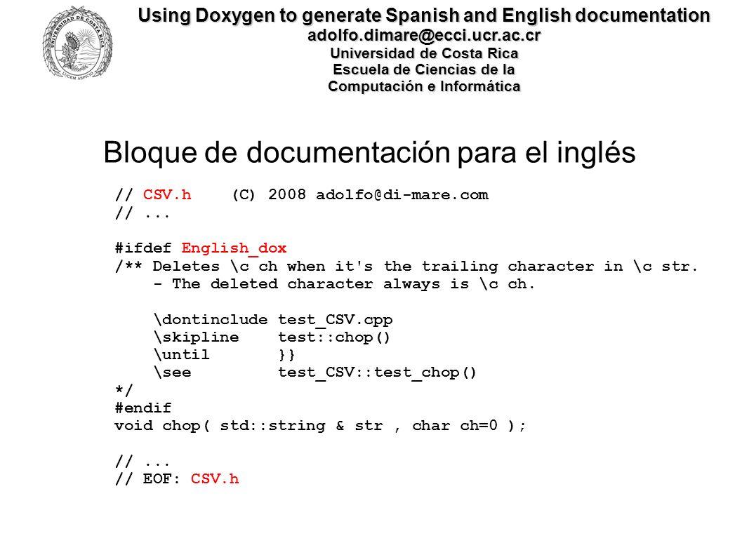 Bloque de documentación para el inglés