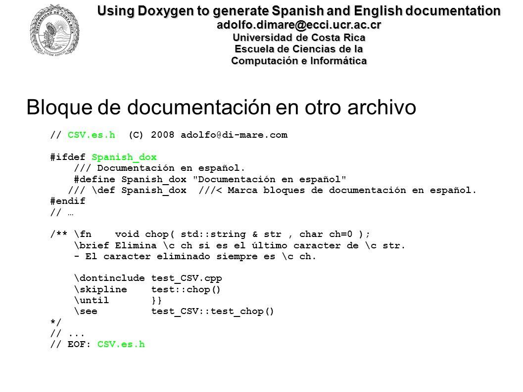 Bloque de documentación en otro archivo