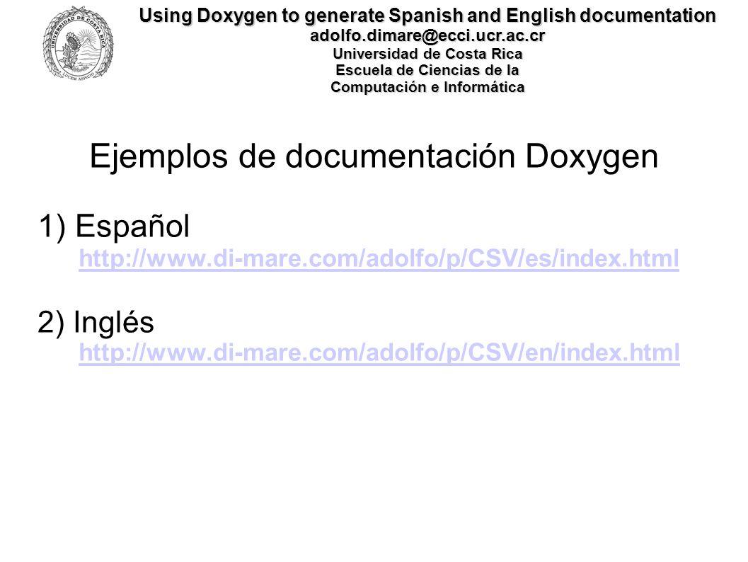 Ejemplos de documentación Doxygen