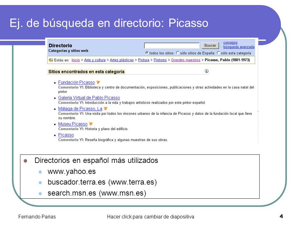 Ej. de búsqueda en directorio: Picasso