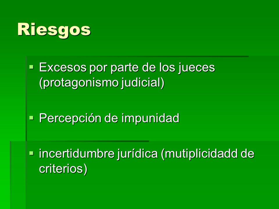 Riesgos Excesos por parte de los jueces (protagonismo judicial)