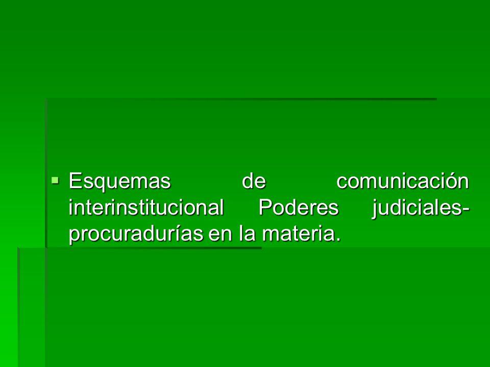 Esquemas de comunicación interinstitucional Poderes judiciales- procuradurías en la materia.