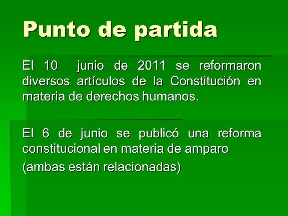 Punto de partida El 10 junio de 2011 se reformaron diversos artículos de la Constitución en materia de derechos humanos.