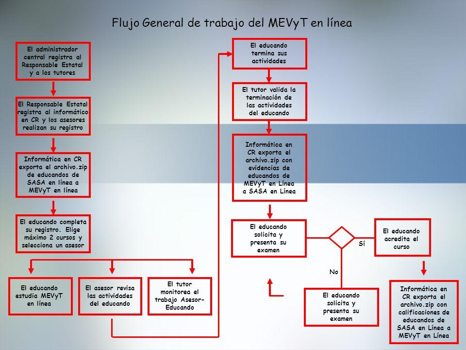 Flujo General de trabajo del MEVyT en línea