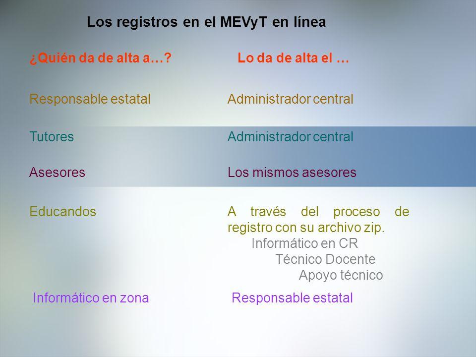 Los registros en el MEVyT en línea