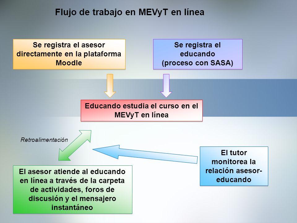 Flujo de trabajo en MEVyT en línea