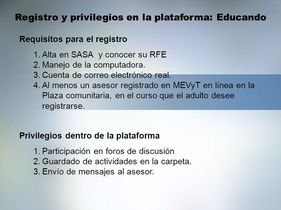 Registro y privilegios en la plataforma: Educando