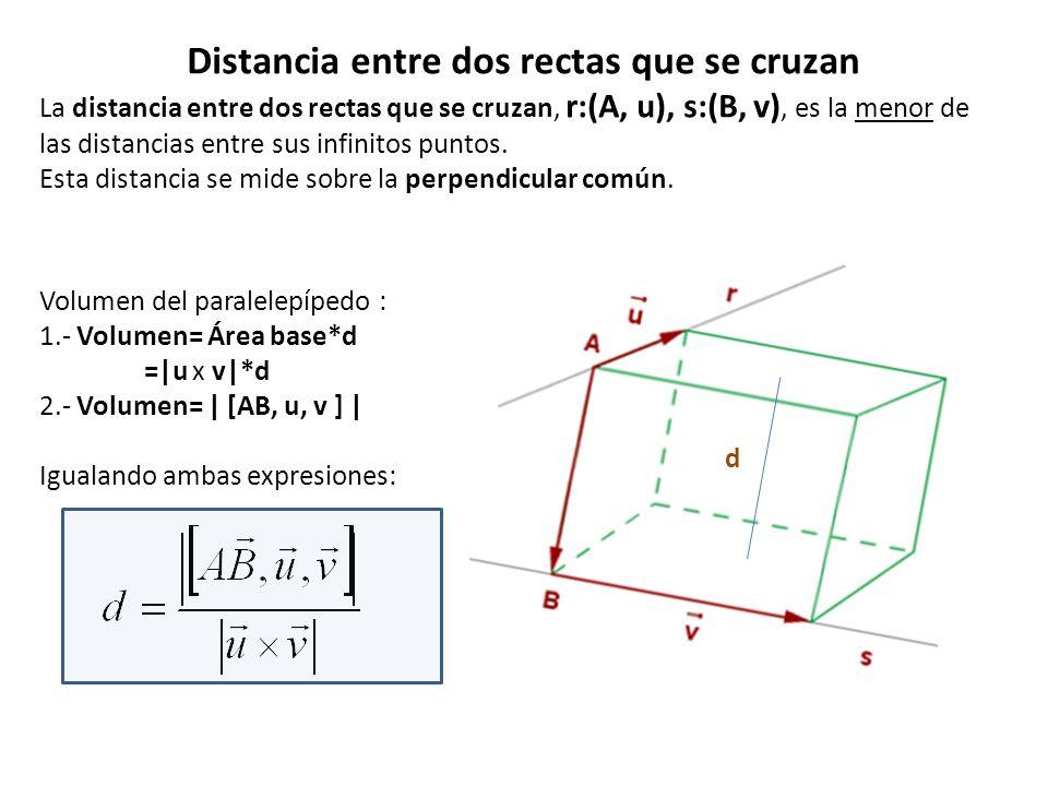 Distancia entre dos rectas que se cruzan