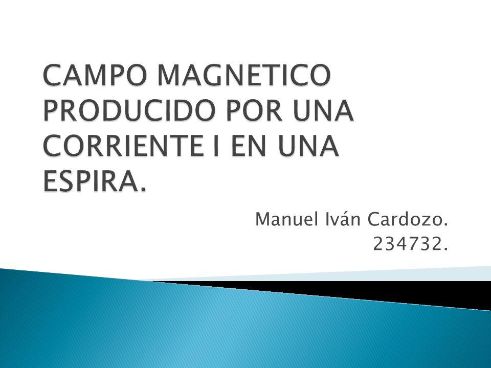 CAMPO MAGNETICO PRODUCIDO POR UNA CORRIENTE I EN UNA ESPIRA.