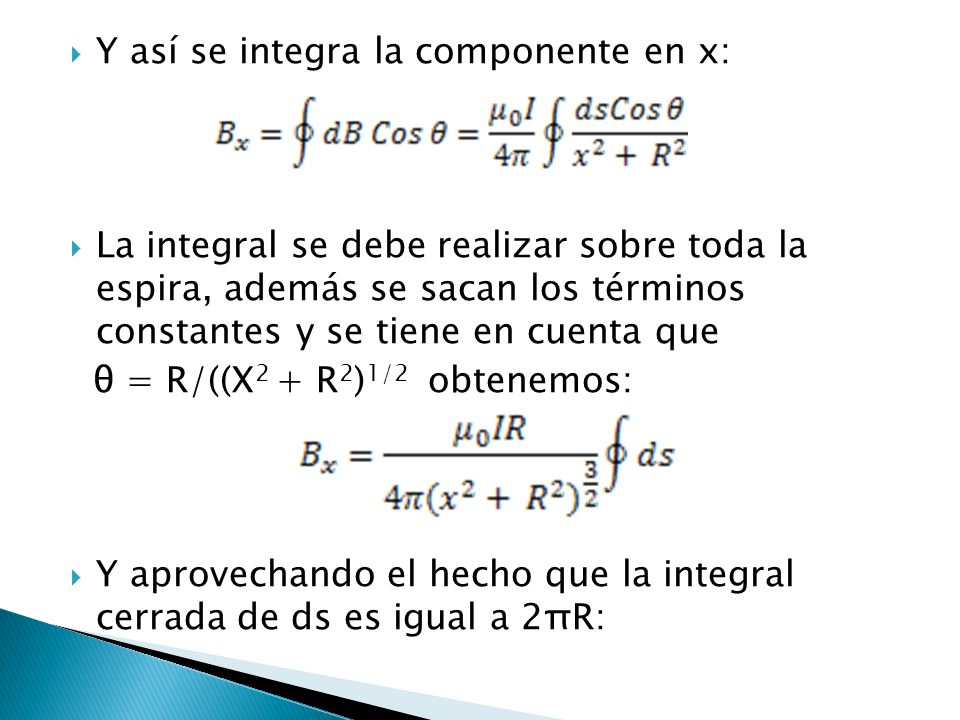 Y así se integra la componente en x: