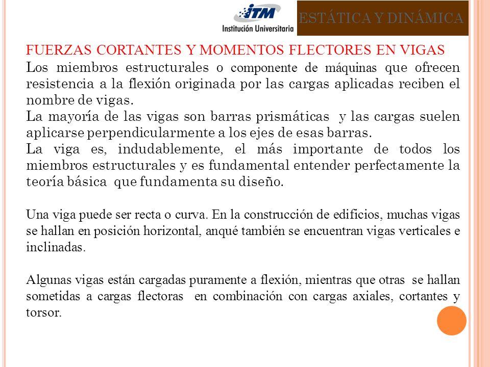 FUERZAS CORTANTES Y MOMENTOS FLECTORES EN VIGAS