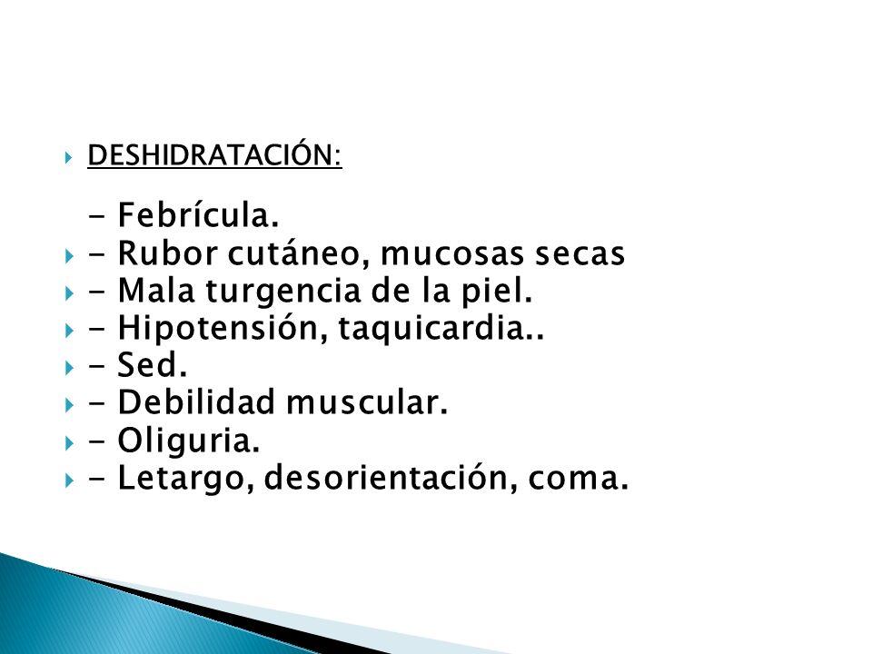 - Rubor cutáneo, mucosas secas - Mala turgencia de la piel.