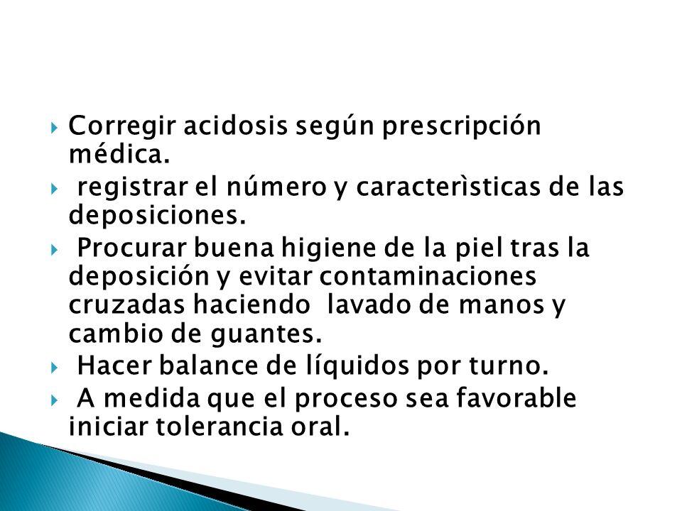 Corregir acidosis según prescripción médica.