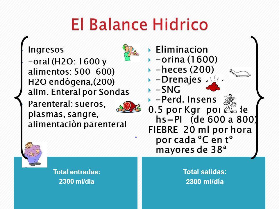 El Balance Hidrico Eliminacion -orina (1600) -heces (200) -Drenajes