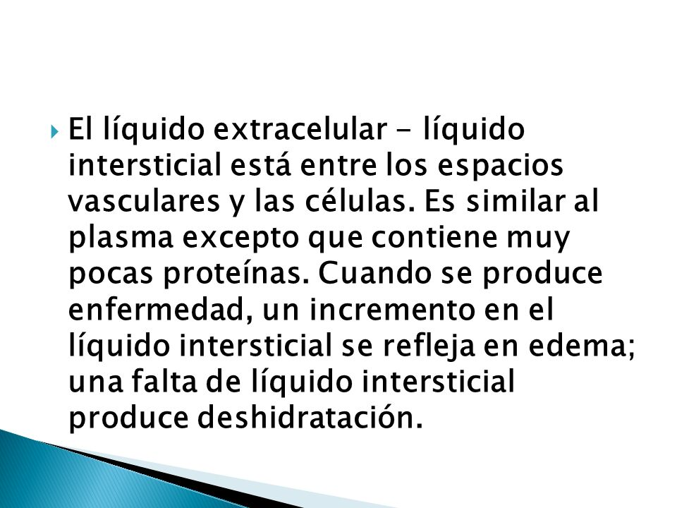 El líquido extracelular - líquido intersticial está entre los espacios vasculares y las células.