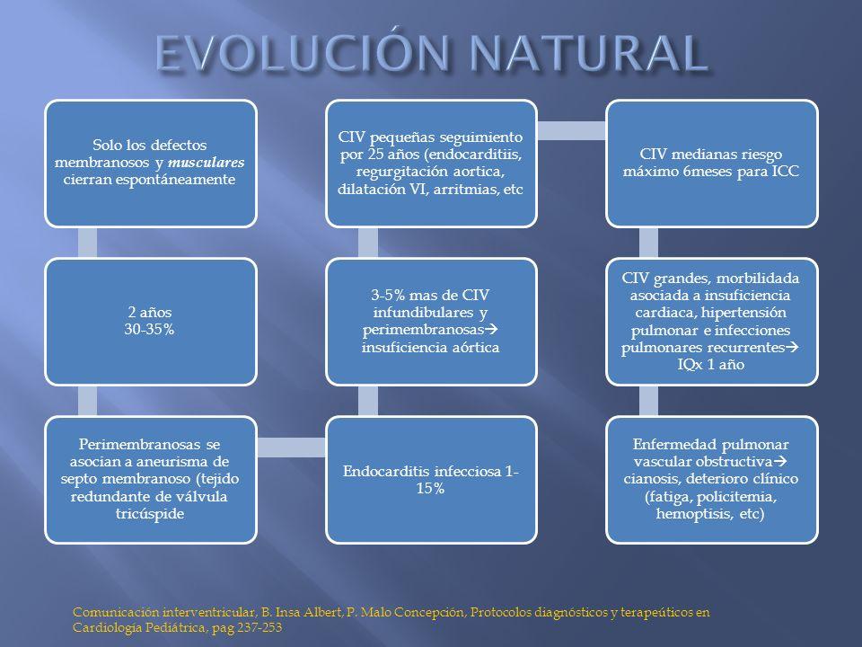 EVOLUCIÓN NATURAL Solo los defectos membranosos y musculares cierran espontáneamente. 2 años 30-35%